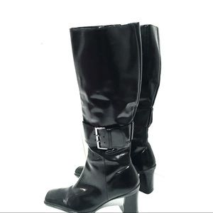 Nine West Knee High Black Chunky Heel Boots